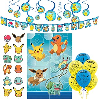 Party City Ultimate Pokemon Birthday Room Decorations, with a Photo Booth and Props, Balloons, Swirls, and a Banner