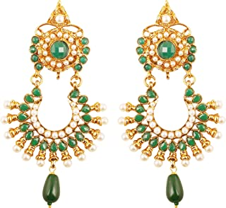 Indian Bollywood wide magical jhumki wedding jewelry earrings in antique gold tone for women
