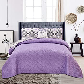 Hannah Linen Quilt Sets Queen 4 Piece Down Alternative Design Bedding Set with Shams and Decorative Pillow - Plush Microfiber Fill - Reversible Quilt Coverlet Bedspread Set (Queen, Purple Vidara)