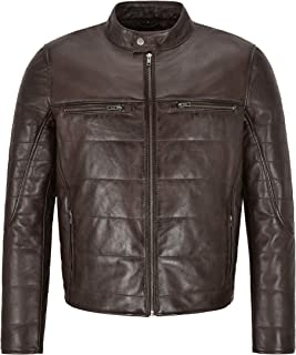 Rayland Men's Leather Jacket Brown Padded Fashion Designer Genuine Lambskin Jacket