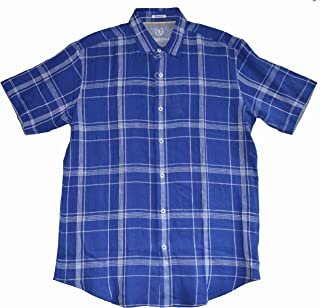 Bugatchi Uomo Shaped Fit Men's Short Sleeve Blue Linen Button Front Shirt
