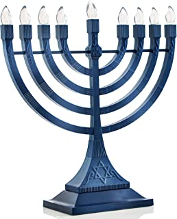 Zion Judaica LED Electric Hanukkah Menorah - Battery or USB Powered (Blue) - Batteries and Cable Not Included