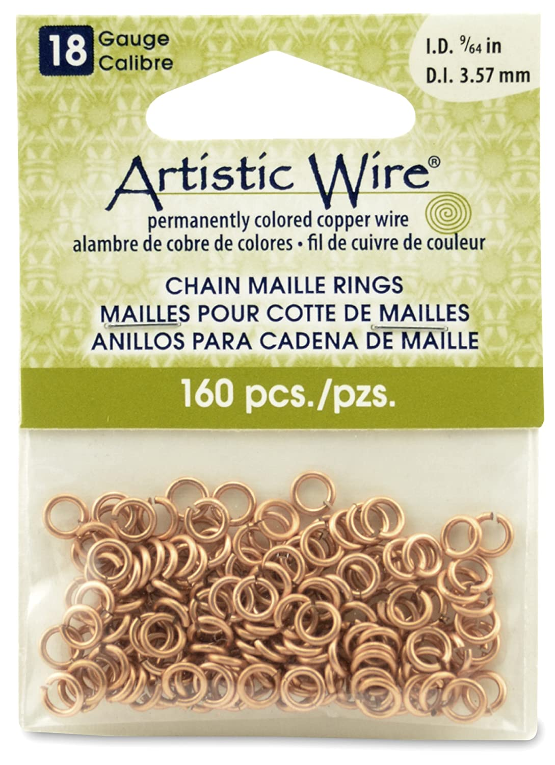 Artistic Wire 18-Gauge Natural Chain Maille Rings, 9/64-Inch Diameter,160-Pieces