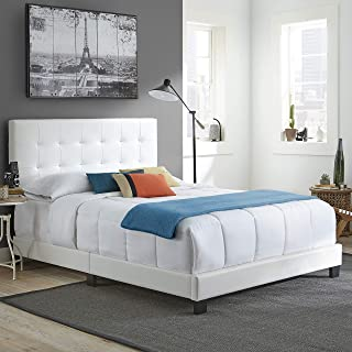 Boyd Sleep Murphy Upholstered Platform Bed Frame with Tufted Headboard: Faux Leather, White, Full