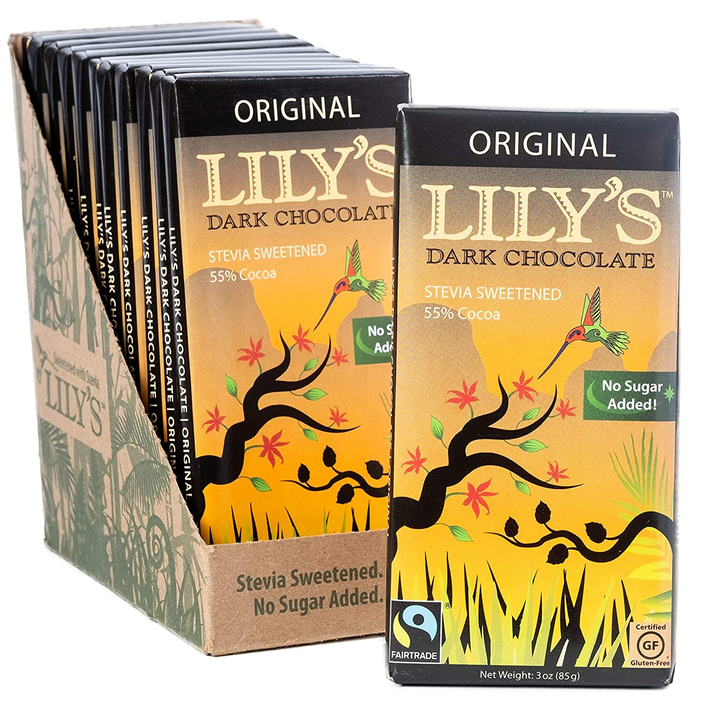 Lily's Sweets- Original Dark Chocolate Bar Stevia Sweetened, No Added Sugar, Low-Carb, Keto Friendly   55% Cacao   Fair Trade, Gluten-Free & Non-GMO   3 ounce, 12-Pack