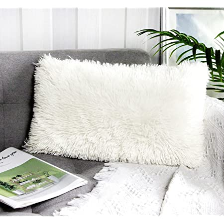 Single Uhomy Home Decorative Luxury Series Super Soft Faux Fur Pillow Cover Cushion Case for Sofa Bedding Chair Car Gray Ombre 12x20 Inch 30x50 cm