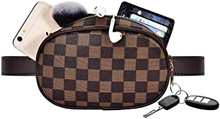 CARM AXKO Fanny Pack Waist Bag, Checkered Chest Pack for Men & Women, Vegan Leather Adjustable Belt, Crossbody Bumbag with Zipper for Travel Party(Brown)