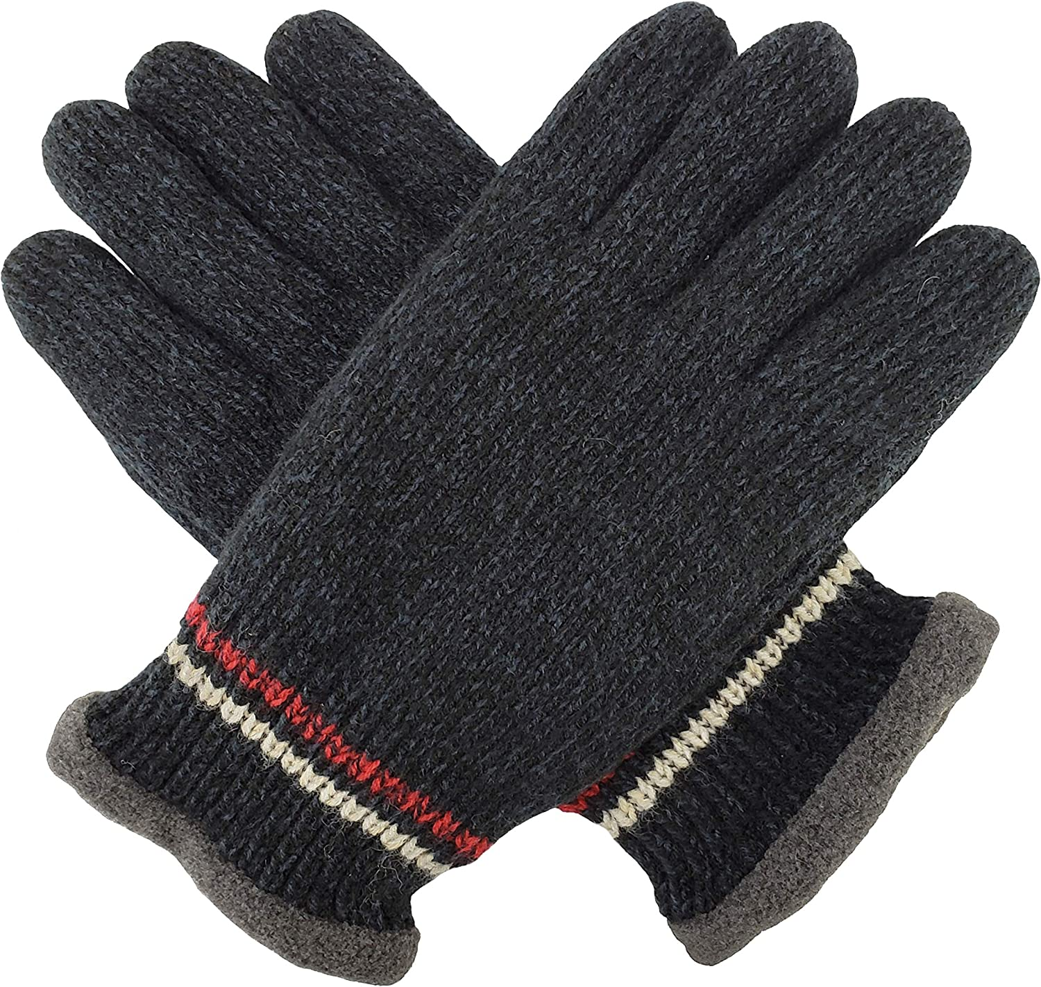 XIAOQIU Gloves Men's Knitted Winter Warm Gloves Fine Wool Lining Mixed Men and Women Outdoor Warm Gloves Mittens (Color : Navy, Gloves Size : T)