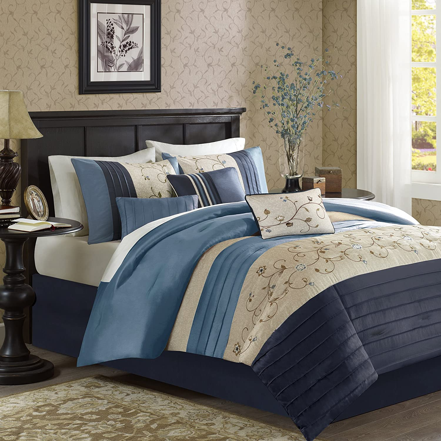 Madison Park Serene King Size Bed Comforter Set Bed in A Bag - Navy, Embroidered – 7 Pieces Bedding Sets – Faux Silk Bedroom Comforters