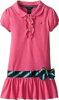 Girls' Little Pique Dress with Offset Stripe Skirt and Flat Knit Collar