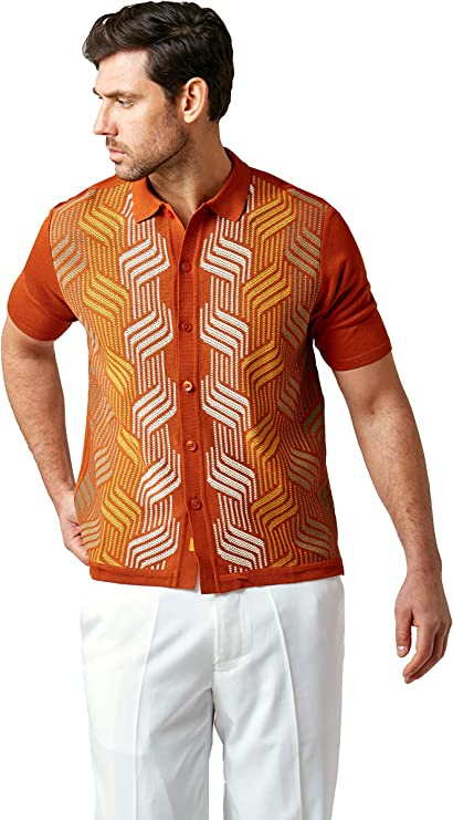1960s Mens Shirts | 60s Mod Shirts, Hippie Shirts EDITION S Men's Short Sleeve Knit Shirt- California Rockabilly Style: Mosaic Honeycomb Jacquard  AT vintagedancer.com