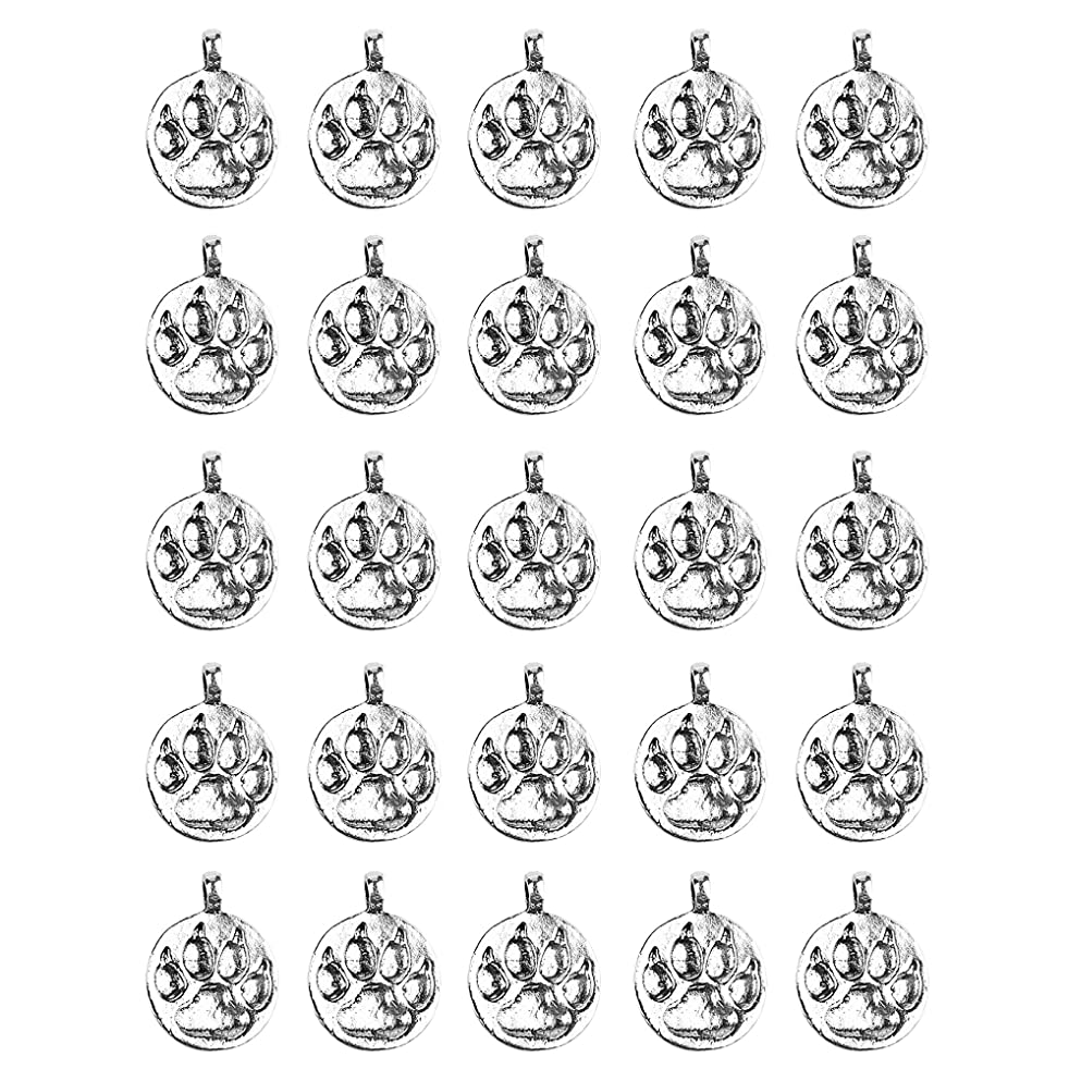 Cosmos 25pcs Antique Silver Tone Animal Dog Puppy Paw Foot Print Charms Pendant Bracelet Accessiries
