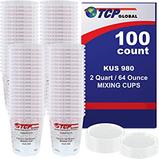 Custom Shop - Full Box Case of 100 Each - 64 Ounce Graduated Paint Mixing Cups - Cups are Calibrated with Multiple Mixing Ratios - Also Includes 12 Lids - Cups Hold 80-Ounces