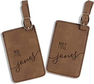 Personalized Mr and Mrs Luggage Tags - Set of 2 (Dark Brown)