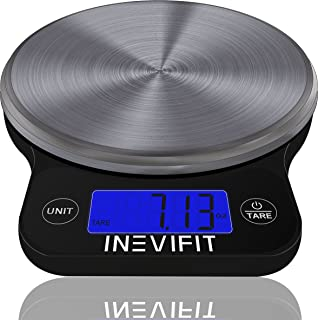 INEVIFIT DIGITAL KITCHEN SCALE, Highly Accurate Multifunction Food Scale 13 lbs 6kgs Max, Clean Modern Black with Premium Stainless Steel Finish. Includes Batteries & 5-Year Warranty