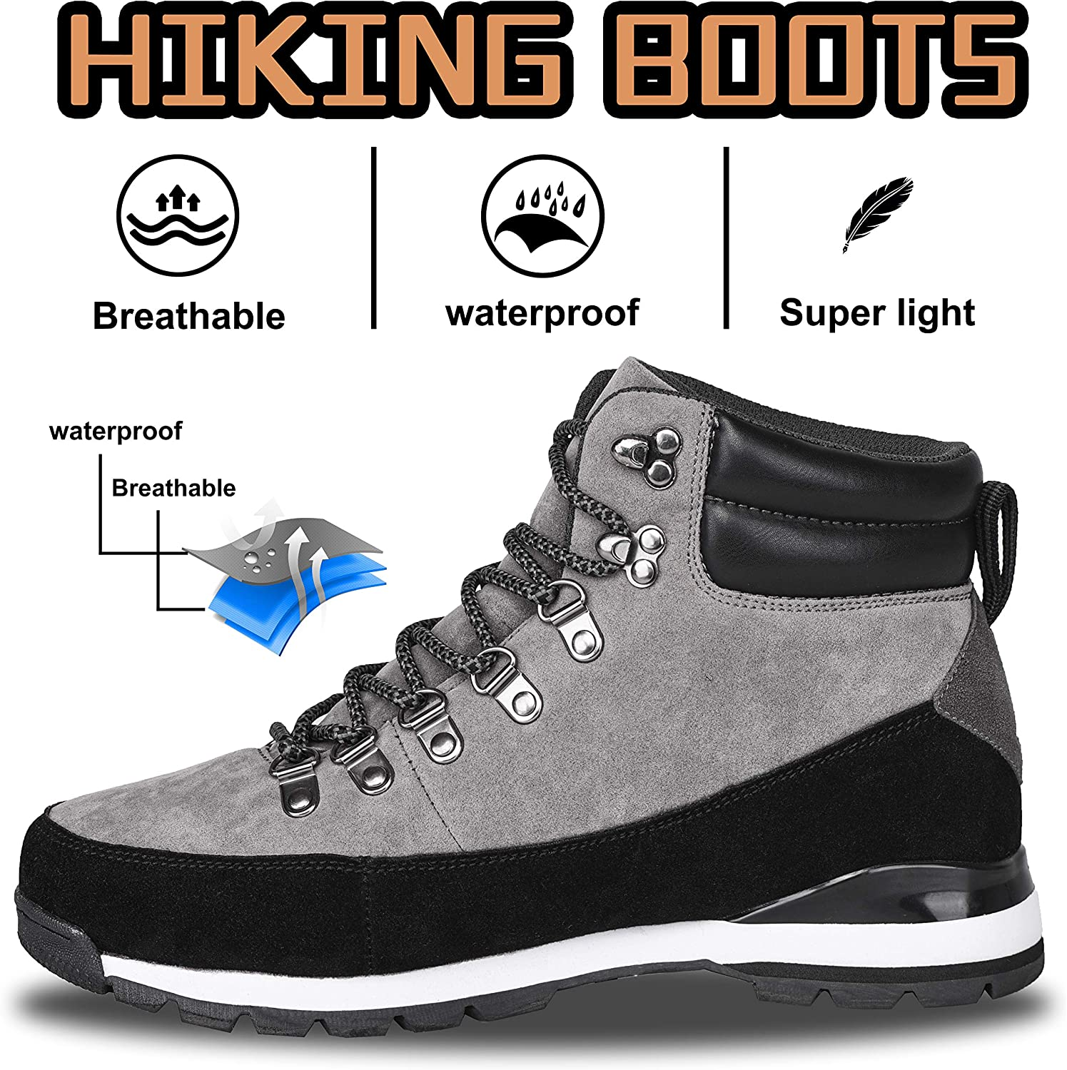 Mens Hiking Boots,Lightweight Breathable Backpacking Mountaineering Boots Mid Ankle Outdoor Trekking Hiker Shoes