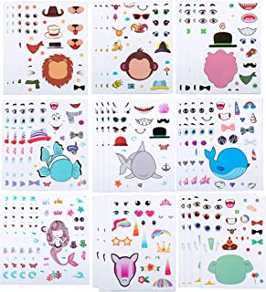 40PCS Make-a-face Sticker Sheets Make Your Own Animal Sticker Sheets with Safaris, Sea and Fantasy Animals Kids Party Favor Supplies Craft (Make a face)
