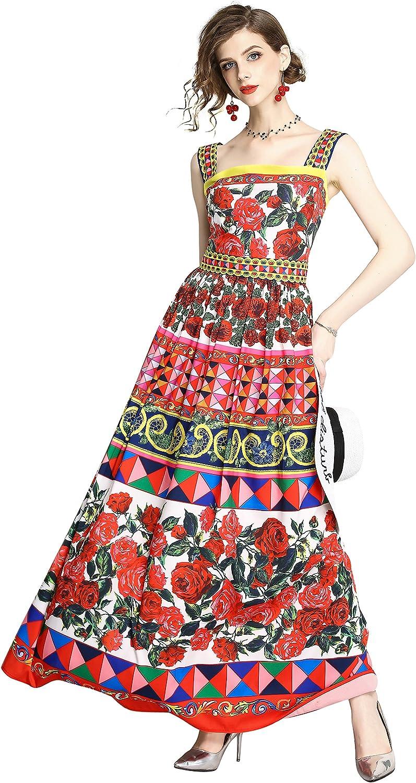 LAI MENG FIVE CATS Womens Summer Square Neck Sleeveless Maxi Dress Floral Print Casual A-line Long Dress
