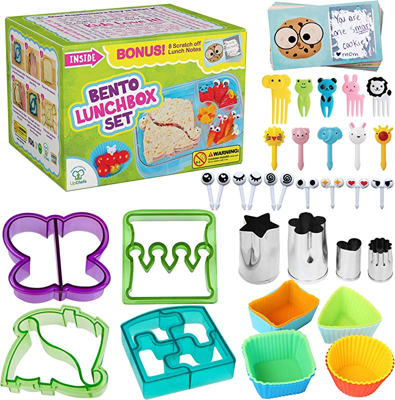 Complete Bento Lunch Box Supplies And Accessories For Kids Sandwich Cutter And Bread Crust Remover Mini Vegetable Fruit Cookie Cutters Silicone Cup Dividers Food Picks And FREE Lunch Notes