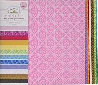 DOODLEBUG Specialty Cardstock, 12 by 12-Inch, Flocked Chenille, 12-Pack