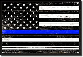 Thin Blue Line Honoring our Men and Women of Law Enforcement American Police Military Flag Shabby Chic Canvas Print Home Decor Man Cave Wall Art Collectible Decoration Artwork Gifts, Black Frame, 7
