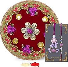 TIED RIBBONS Designer Lumba Rakhi Set for Bhaiya Bhabhi Set Pooja Thali and Rakshabandhan Special Card