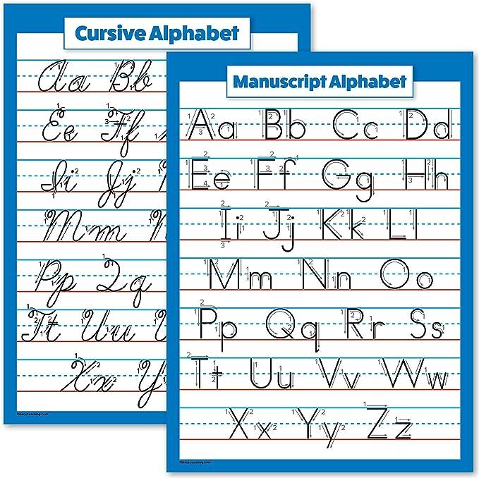 Amazon.com: ABC Alphabet - Cursive Chart & Manuscript Poster - Laminated 2  Poster Set (Laminated, 18 X 24): Office Products
