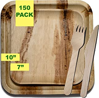 "Party Pack of 150. The Palm Leaf Disposable Plate Advantage – Strong, Natural, Biodegradable. 25 Fabulous Place Settings: 25 x 10"" Plates, 25 x 7"" Plates, 50 x 6"" Forks, 50 x 6"" Knives."