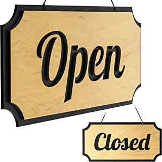 Rustic Decorative Signs Open Closed Double-Sided Vintage Wood And For Business Plaques & Signs