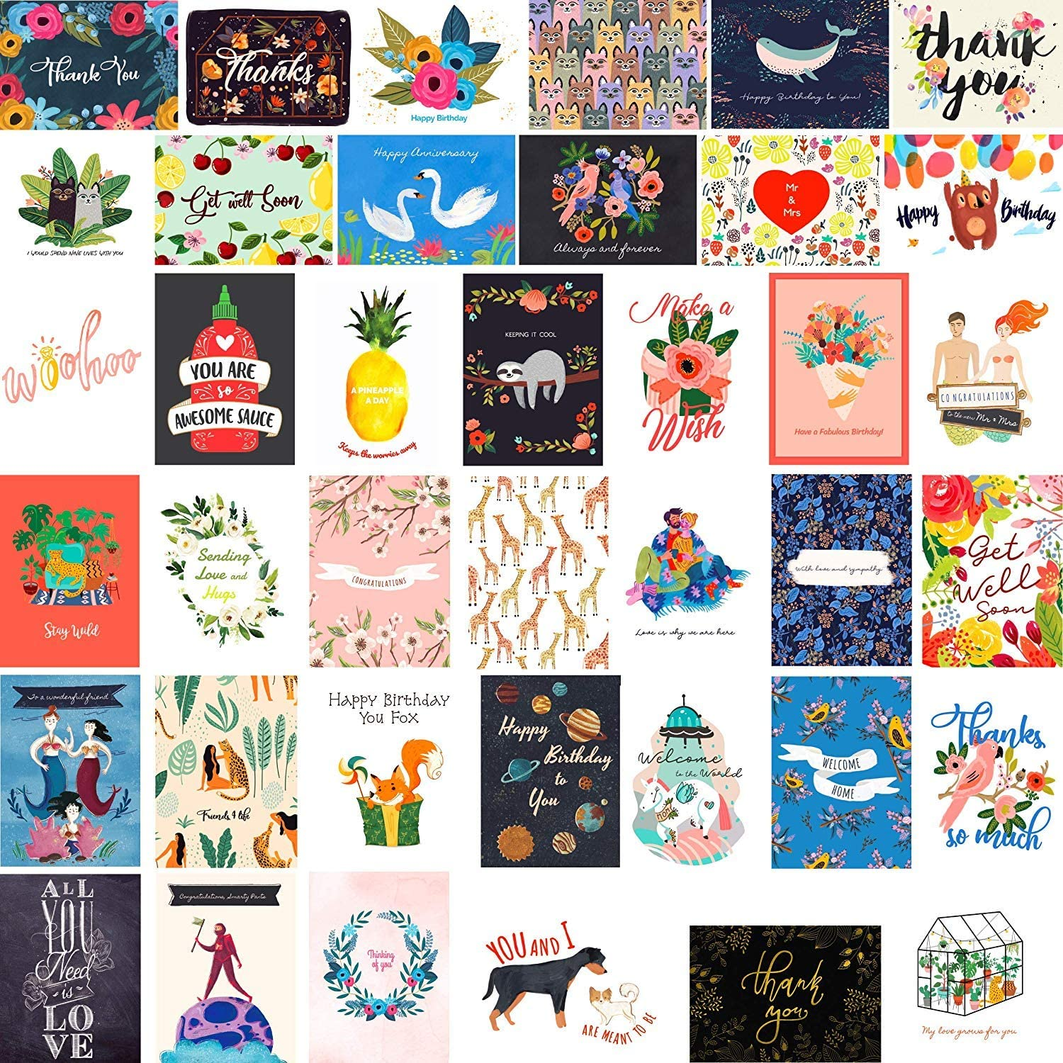 40 Greeting Cards with 1 year warranty Assortment Envelopes Ranking TOP19