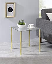 Kings Brand Furniture - Milnai Square Side End Accent Table, Gold Metal/Glass