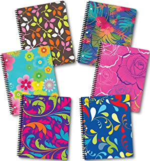 NEW GENERATION – Floral – Fashion Wire Bound Spiral Notebooks, 1 Subject 70 Sheets, 8 x 10.5 inches, 3 Hole Punch Perforated Sheets – 6 Pack Set Great for School, Home,