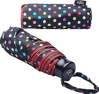 OMBRELLI - Paraguas mini de lluvia plegable, cortavientos de alta calidad, apertura manual, tejido Pongee 190T, portátil de bolso y de bolsillo, para hombre y mujer