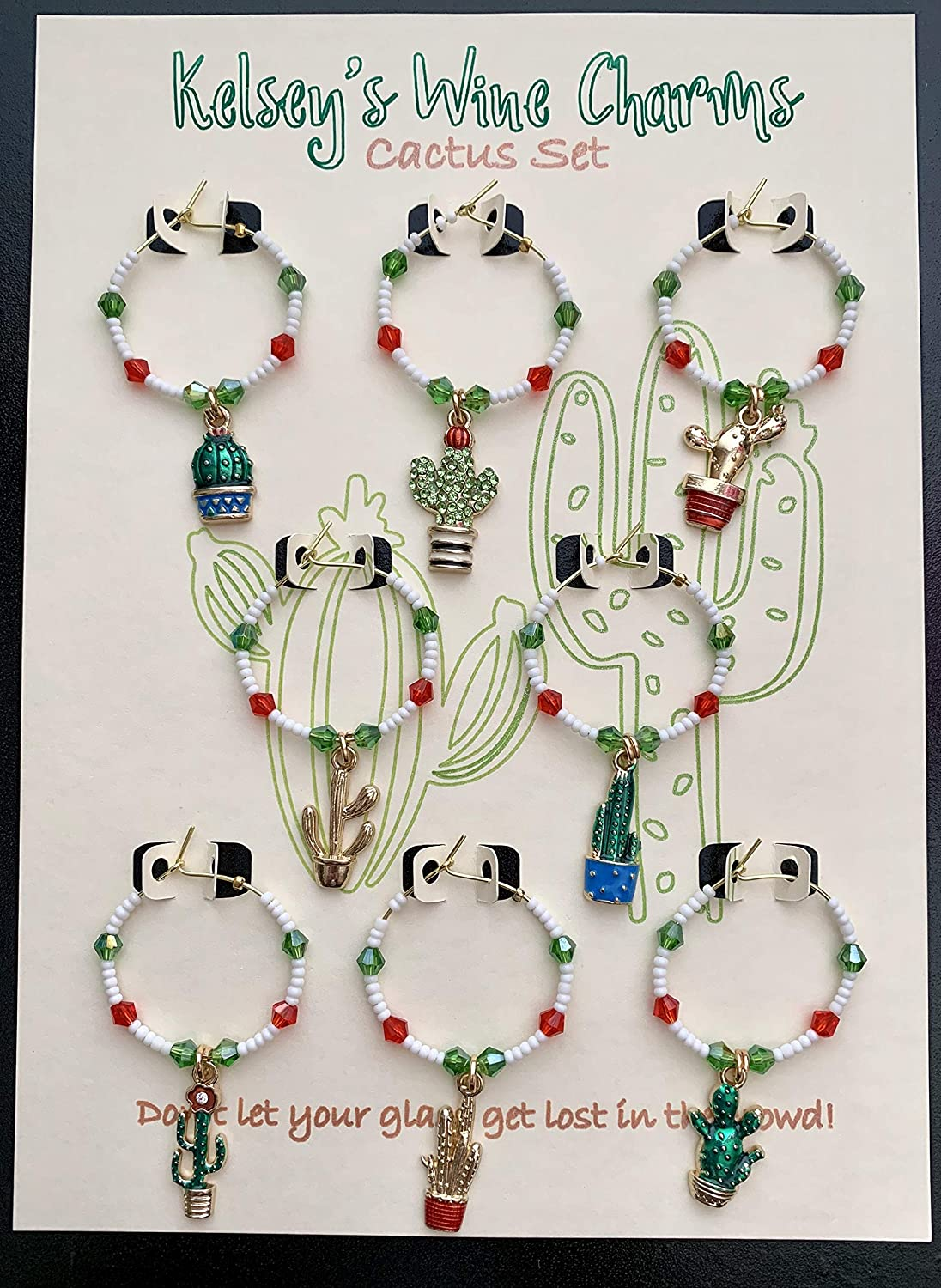 Cactus Wine Max 78% OFF Glass Charms Bargain Party Gift Hostess