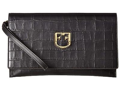 Furla Belvedere XL Envelope Clutch (Onyx) Handbags