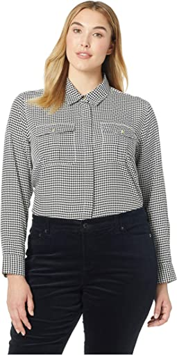 Plus Size Crepe Button Down Shirt