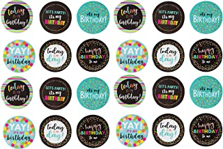 Pinback Buttons - 24-Pack Party Button Pins, Birthday Party Pins in Assorted Designs and Colors, 2.25-Inch Diameter