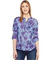 Lucky Brand - Printed Chambray Popover Top