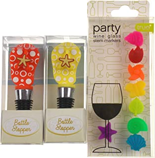 Orange & Yellow Flip Flop Wine Bottle Stoppers Bundled with Colorful Party Glass Stem Markers