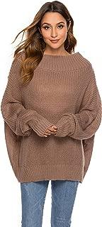 E-KOOL Women's Off-The-Shoulder Bat Sleeve Sweater, Loose Oversized Solid Color Knit Jumper Pullover