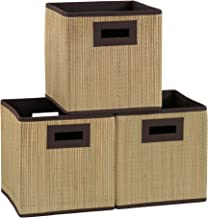 Household Essentials 3 pk. Premium Fabric Storage Cubes | Grass Cloth Wicker Bin, Brown