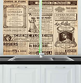 Ambesonne Paris Kitchen Curtains, Vintage Old Historic Newspaper Journal French Paper Lettering Art Design, Window Drapes 2 Panel Set for Kitchen Cafe Decor, 55