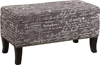 Linon Stephanie Script Linen Ottoman, 32W x 16D x 18H, Gray/Black