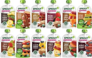 Sprout Organic Baby Food, Stage 2 Pouches, 12 Flavor Fruit Veggie & Grain Variety Sampler, 3.5 Oz Purees (Pack of 12)