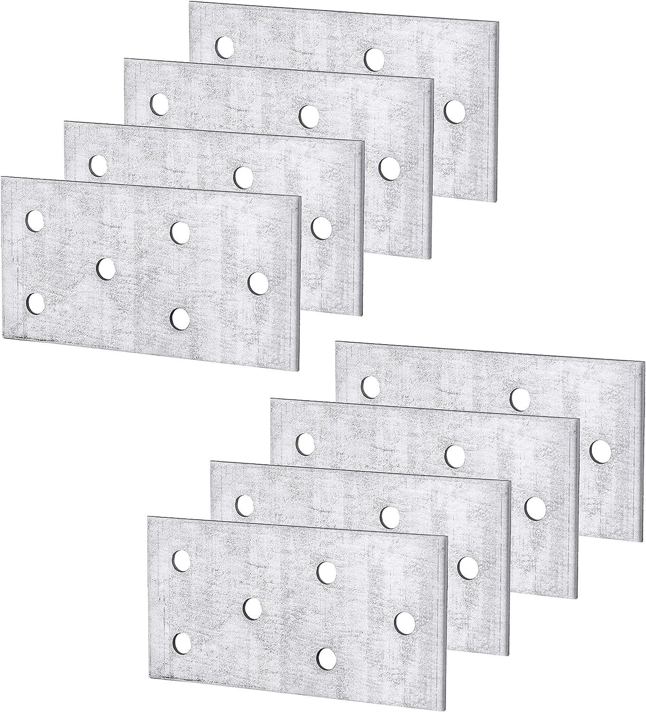 (Paquete de 8 piezas) Placa de unión de conector de reparación plana de acero 80 x 40 x 2 mm