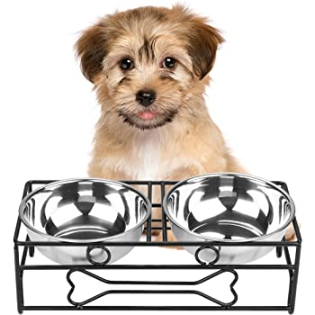 VIVIKO Bone Style Pet Feeder for Dog Cat, Stainless Steel Food and Water Bowls with Iron Stand