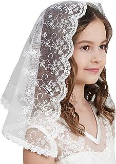 Flowergirl عروسی حجاب توری گل لبه حجاب چسب برای سرپوشیده F5