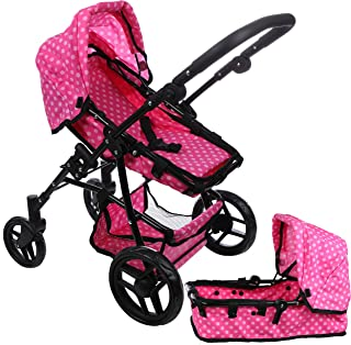 Mommy and Me Doll Collection Babyboo Baby Doll Stroller for Toddlers and Girls, 2 in 1 Convertible Bassinet and Seat. Adjustable Handle and Fold-able Dolls Pram