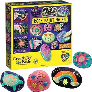 خلاقیت برای کودکان درخشش در کیت نقاشی تیره سنگ - 10 سنگ را با رنگ براق مقاوم در برابر آب نقاشی کنید - صنایع دستی برای کودکان