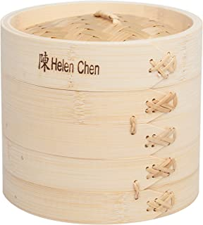 Helen's Asian Kitchen 97080 Food Steamer with Lid, 6-Inch, Natural Bamboo